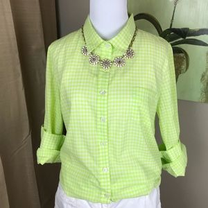 J. Crew Bright Lime Green Gingham Perfect Shirt